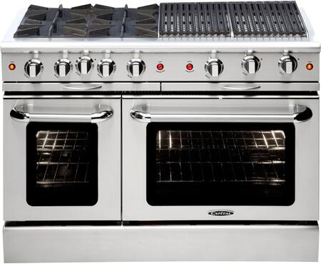 "Capital MCOR484BBN 48"" Culinarian Series Gas Freestanding Range with Sealed Burner Cooktop, 4.9 cu. ft. Primary Oven Capacity, in Stainless Steel"