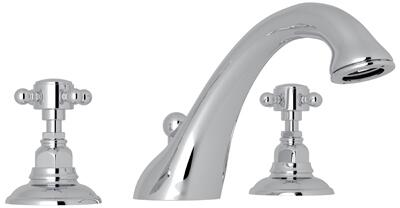 Rohl A1454XM Italian Country Bath Collection Viaggio Deck Mounted C-Spout Tub Filler with up to 17 GPM Water Flow and Cross Handles in