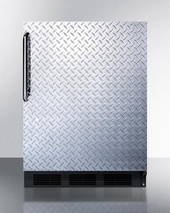 """AccuCold ALB753XBDPL 24"""" ADA Compliant Medically Approved Compact Refrigerator with 5.5 cu. ft. Capacity, Automatic Defrost, 3 Adjustable Glass Shelves, Hidden Evaporator, Adjustable Thermostat, and Interior Light: Diamond Plate"""