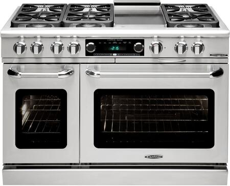 "Capital CSB484G2L 48"" Connoisseurian Series Dual Fuel Freestanding Range with Sealed Burner Cooktop, 4.6 cu. ft. Primary Oven Capacity, in Stainless Steel"