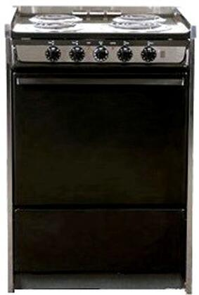 "Summit TEM619R 24"" Slide-in Electric Range with Coil Element Cooktop, 2.92 cu. ft. Primary Oven Capacity, Storage in Black"