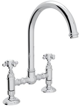"Rohl A1461XM-2 Italian Country Kitchen Collection Deck Mounted C-Spout Bridge Kitchen Faucet with 8"" Reach and Cross Handles in"