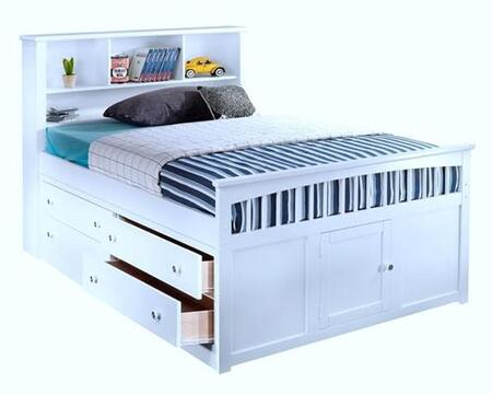 New Classic Home Furnishings 1415-CB Bayfront Captain's Bed with Headboard Cubbies, Four Drawers, Easy Pull Hardware, Footboard and Simple Design, in White