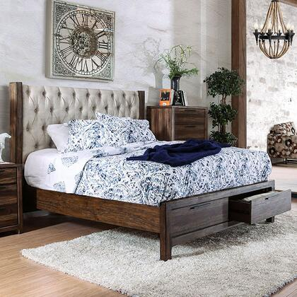 Furniture of America Hutchinson CM7577DRX Bed with Transitional Style, Wingback Headboard with Button Tufting, 2 Drawers on Footboard, 2 Drawer Night Stand in Rustic Natural Tone