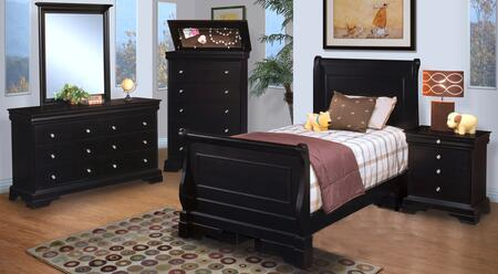 Picture of 00013FYSBDMCN Belle Rose Youth 5 Piece Bedroom Set with Full Sleigh Bed  Dresser  Mirror  Chest and Nightstand  in Black