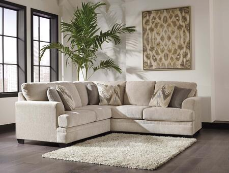 Benchcraft Ameer 81806SEC2PC 2-Piece Fabric Sectional Sofa with X Arm Facing Loveseat and X Arm Facing Sofa in Sand Color