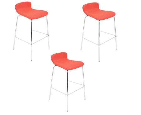 "LumiSource Fabric Stacker BS-TW-FSTK-X3 Set of (3) 35"" Stackable Barstool with Fabric Upholstery, Low Back Design and Stainless Steel Base in"