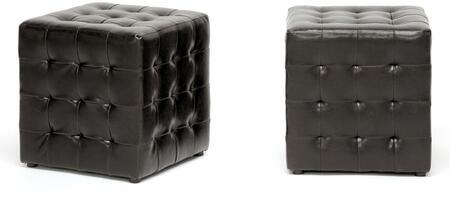 Wholesale Interiors BH5589DARKBROWNOTTO Siskal Series Modern Faux Leather Ottoman