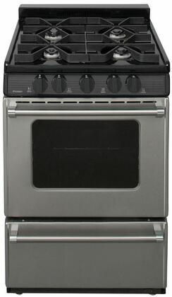 "Premier P24B3X02P 24"" Freestanding Sealed Burner Battery Spark Gas Range in Stainless Steel"