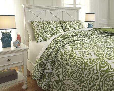 Signature Design by Ashley Ina Q76600 PC Size Comforter Set includes 1 Comforter and Standard Sham, Machine Washable with Geometric Design, 200 Thread Count and Cotton Material in Green Color
