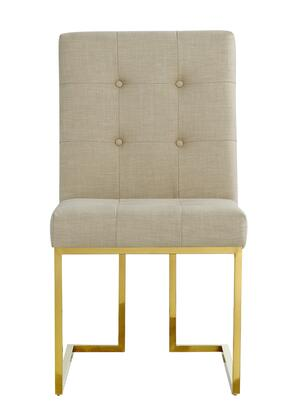 """Meridian Victoria Collection 715X-C 37"""" Dining Chair with Linen Upholstery, Rich Gold Stainless Steel and Contemporary Style in"""