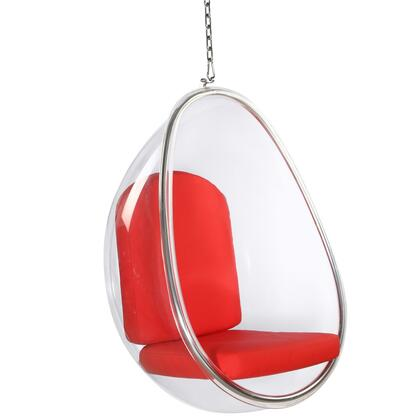 Fine Mod Imports FMI9237RED Balloon Series Lounge Vinyl Acrylic and chrome plated Frame Accent Chair