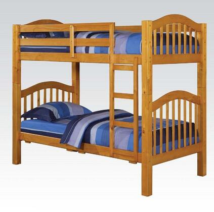 Acme Furniture 02H Heartland Twin over Twin Bunk Bed with Built-In Ladder, Guardrails, Slats, Hardwood Solids and Veneers in