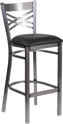 """Flash Furniture Hercules Collection 31"""" Bar Stool with """"X"""" Back Design, 18 Gauge Steel Clear Coated Frame, Footrest, Plastic Floor Glides and Vinyl Upholstered Seat in"""