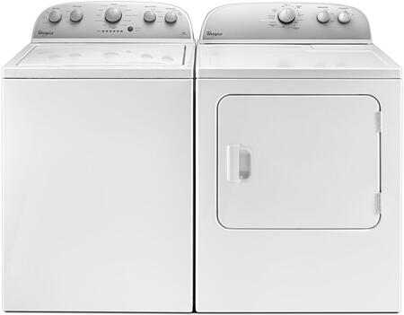 Picture of 2-Piece White Top Load Laundry Pair with WTW4816FW 28 Washer and WED4985EW 30 Electric