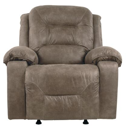 Signature Design by Ashley Rotation 97501REC X Rocker Recliner with Plush Padded Arms, Divided Back Design and Stitching Details in Smoke Color