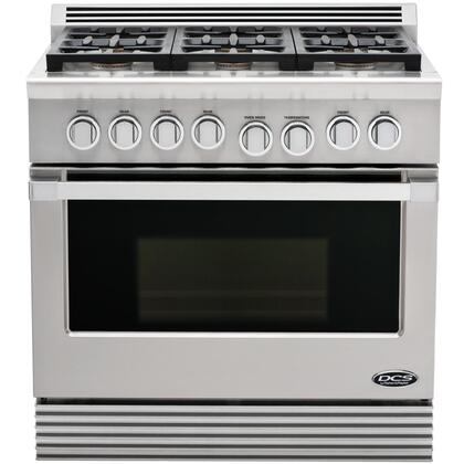 "DCS RDU366N 36"" Professional Series Natural Gas Freestanding Range with Sealed Burner Cooktop, 4.7 cu. ft. Primary Oven Capacity, in Stainless Steel"