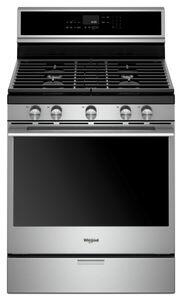 Whirlpool WFGA75H0HX Freestanding Gas Range with 5.8 cu. ft. Capacity, Aqualift Technology, True Convection, EZ Lift Grates and Oval Frozen Bake, in