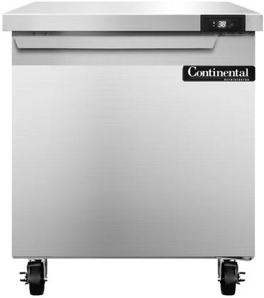 "Continental Refrigerator SW2 27"" Worktop Refrigerator with Stainless Steel Exterior and Interior, 5"" Casters, Interior Hanging Thermometer, and R134-a Refrigerant, in Stainless Steel"