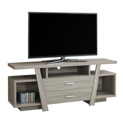 """Monarch I272XTV 60"""" TV Stand with 3 Open Storage, 2 Drawers and Wire Management Hole in"""