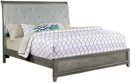 Furniture of America Bryant II Collection Size Bed with Padded Leatherette Headboard, Crystal-like Acrylic Button Tufting and Crocodile Skin Textured Panel Accents in
