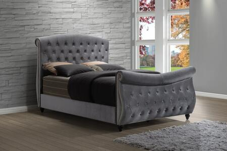 Meridian Hudson HUDSON-SLEIGH-X Sleigh Bed with Crystal Tufting, Nail Head Design and Velvet Upholstery in Grey