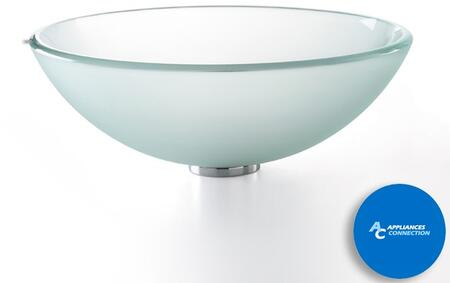 """Kraus CGV101FR12MM1005 Singletone Series 17"""" Round Vessel Sink with 12-mm Tempered Glass Construction, Easy-to-Clean Polished Surface, and Included Riviera Faucet, Frosted Glass"""