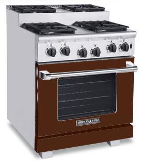 American Range ARR304SHB Titan Series Gas Freestanding Range with Sealed Burner Cooktop, 4.8 cu. ft. Primary Oven Capacity, in Brown