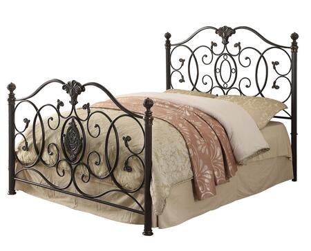 Coaster 300392 Gianna Iron Panel Bed with Scroll Design and Metal Construction in Black Brush Gold
