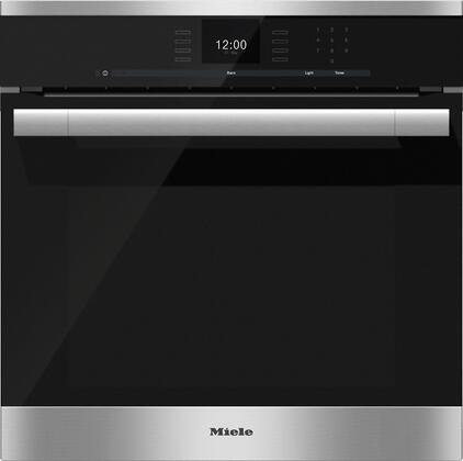 "Miele H6560B 24"" ContourLine Series Single Oven with 2.7 cu. ft. Capacity, SensorTronic Controls, Convection, PerfectClean Interior, 17 Operating Modes, MasterChef Menu, Rapid PreHeat, and Roast Probe, in Clean Touch Steel"