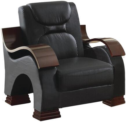 "Glory Furniture 35"" Armchair with High Gloss Contoured Arms, Faux Leather Upholstery, Removable Back and Arms in"