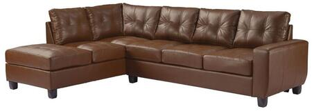 """Glory Furniture 112"""" Sectional Sofa with Removable Backs, Track Arms, Tapered Legs, Tufted Cushions and PU Leather Upholstery in"""