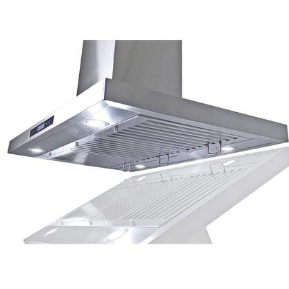 "Golden Vantage GIR0236 36"" Island Mount Range Hood with 870 CFM, 65 dB, Innovative Touch, LED Lighting, 3 Fan Speed, Stainless Steel Baffle Filter and X: Stainless Steel"