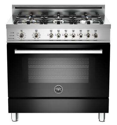"Bertazzoni PRO366DFSNELP 36"" Professional Series Dual Fuel Freestanding Range with Sealed Burner Cooktop, 4.0 cu. ft. Primary Oven Capacity, in Black"
