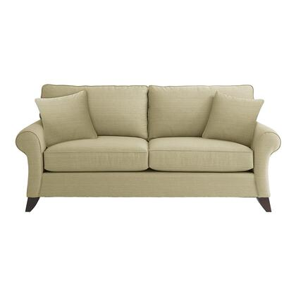 """Bassett Furniture Tyson Collection 3972-6QFC/FC116-x 86"""" Queen Sofa Sleeper with Fabric Upholstery, Rolled Sock Arms, Tapered Legs and Contemporary Style in"""