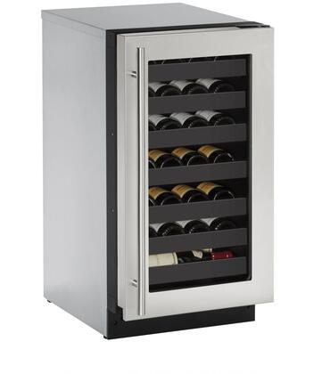 "U-Line U2218WCx00B 18"" 2000 Series Built-In Wine Cooler with 31 Bottle Capacity, Convection Cooling System, 7 Full Extension Racks, and LED Lighting, in"