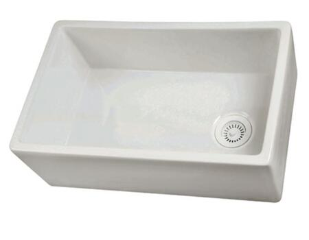 """Barclay FS3 30"""" Fireclay Farmer Sink with No Overflow in"""