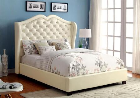 Furniture of America Monroe CM7016IVX Bed with Contemporary Style, Platform Bed, Padded Leatherette Headboard, Crystal-like Acrylic Buttons in Ivory