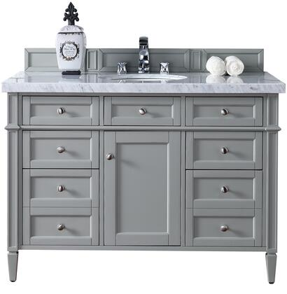 "James Martin Brittany Collection 650-V48-UGR- 48"" Urban Gray Single Vanity with Seven Drawers, One Door, Tapered Legs, Satin Nickel Hardware and"