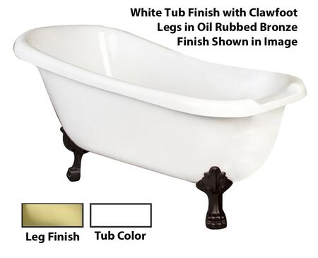 White Tub Finish with Clawfoot Legs in Oil Rubbed Bronze Finish Shown