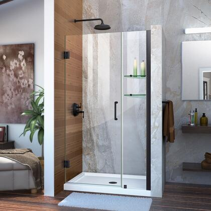 Unidoor Shower Door with Base 12 28D 12P glass shelves 09 72 WM 11 16