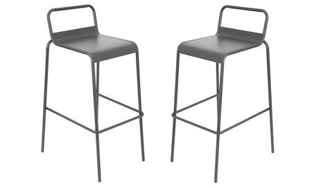 "LumiSource Victor BS-TW-VIC Set of (2) 36"" Stackable Barstool with Stretcher, Galvanized Steel Construction and Footrest in"