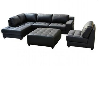 Diamond Sofa LAREDOLF3PCSECTOTTOB Contemporary Bonded Leather in Black Finish Living Room Set