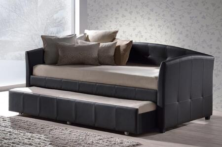 Hillsdale Furniture 10DBT Napoli Daybed with Trundle Included, Casters, Tapered Legs and Faux Leather Upholstery in
