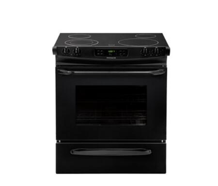 "Frigidaire FFES3025PB 30"" Slide-in Electric Range with Smoothtop Cooktop, 4.6 cu. ft. Primary Oven Capacity, Storage in Black"