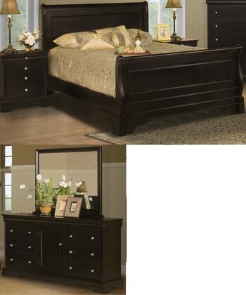 Picture of 00013ESBDMN Belle Rose 4 Piece Bed Room Set with Eastern King Sleigh Bed Dresser Mirror and Nightstand in Black