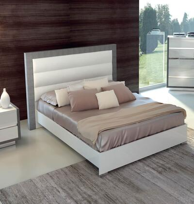 ESF Mangano Collection Panel Bed with Low Profile, Chrome Legs, Made in Italy and High Gloss Veneers in White Finish