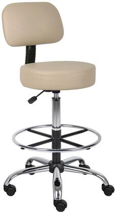 Boss B16245 Caressoft Medical/Drafting Stool with Back Cushion, Adjustable Seat Height, Dual Wheel Casters, Chrome Finished Base