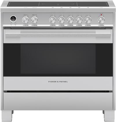 36 Electric Range >> Fisher Paykel Or36sdi6x1 Contemporary Series 36 Inch Stainless Steel With Black Glass Induction Electric Convection Freestanding Range