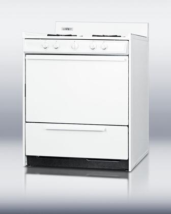 "Summit WNM210P 30""  Gas Freestanding Range with Open Burner Cooktop, 3.7 cu. ft. Primary Oven Capacity, Broiler in White"